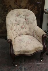 Antique Mid Victorian Mahogany Library Chair.