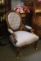 A Lovely Quality Victorian Walnut Open Arm Gents Chair. #