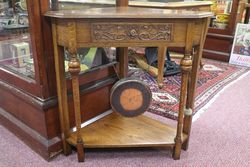 A Rare and Unusual Early 20th Century English Oak Corner Table Dinner Gong #