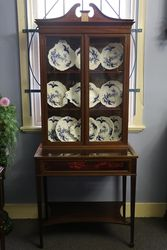Small Late Victorian Inlaid Collectors Cabinet.#