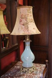 Antique Glass Electric Lamp + Shade  #