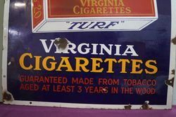 andquotTURFandquot Virginia Cigarettes Enamel Advertising Sign