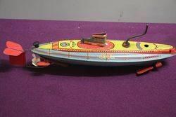 A Clockwork Tinplate Model Of HMS Nautilus Made In Great Britain  #