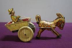 A Mark Toys Clockwork Tinplate Model Of A Donkey Pulling A Cart  #