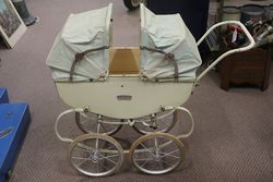 A Triang Dolls Pram Unusually Rare With Double Folding Hoods