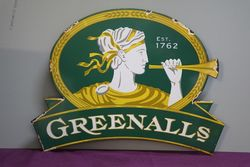 Greenalls Ale  Dia Cut Pictorial Enamel Sign #