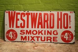 Westward Ho Smoking Mixture Enamel Advertising Sign