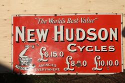 Nice & Early New Hudson Cycles Enamel Advertising Sign . #