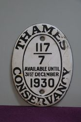 1930 Thames Conservancy Boat Licence Oval Enamel Plaque #
