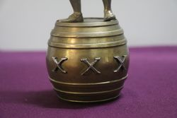 Well Cast Brass Triple X Pub Figure Standing On a Barrel