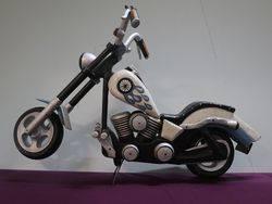 A Large Wood Carved Harley Motor Bike #