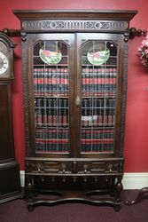 Early C20th Antique Carved Oak 2 Door Bookcase . #