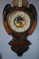 Oak Aneroid Barometer with Thermometer