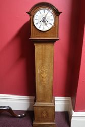 Early C20th Inlaid Grandmother Clock Hour + 12 Hour Striking Movement