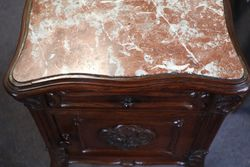 Single French Marble Top Curved Leg Bedside Cupboard