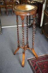 Antique English Oak Barley Twist Leg, Pedestal Stand #