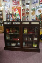 Antique Oak Glass top 2 door Display Cabinet.#