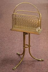Early C20th Revolving Brass Magazine Rack #