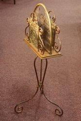 Late Victorian Brass + Copper Magazine Rack C1895