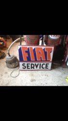 Vintage Fiat Service Enamel Advertising Sign
