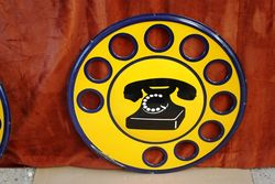 Round Cut Out Dial Telephone Enamel Sign. #