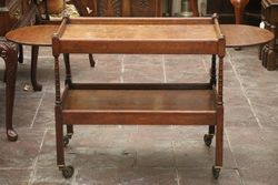 Quality English Oak Drop Side Tea Trolley C1920 #