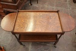 Quality English Oak Drop Side Tea Trolley C1920