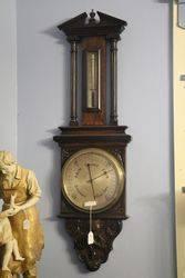 Large Edwardian Carved Oak Barometer #