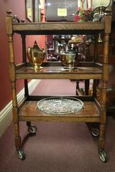 Oak 3 Level Tea Trolley With Removable Tray Top