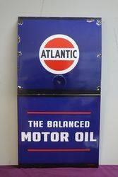 Atlantic The Balanced Motor Oil Enamel Advertising Sign. #