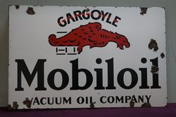 Gargoyle Mobiloil Double Sided Enamel Advertising Sign #