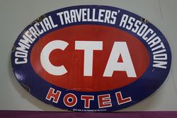 CTA Commercial Travellers Association Hotel  Double Sided Enamel Advertising Sig