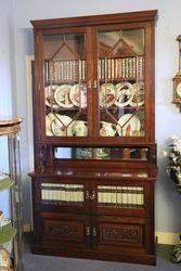 Wonderful Quality Antique Walnut 2 Door Bookcase. #