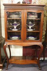 Late C19th Antique Walnut Display Cabinet .#