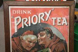 Priory Tea Wooden Framed  Advertising Sign