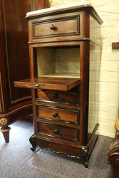Pair Of Rosewood Marble Top Bedside Cabinet