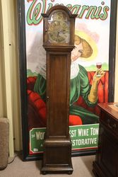 Early C20th Brass Face 8 Day Westminster Oak Grandmother Clock #