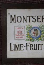 Early Montserrat Framed  Lime  Fruit Juice Advertising Sign