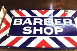Early Barber Shop Post Mount Enamel Sign