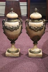 Antique Pair Of French Louis XVI Style Marble Urns  #