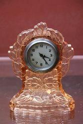 Pink Glass Art Deco Clock #
