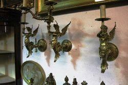 Stunning Set of 3 Antique Brass Gas Wall Lights