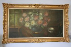 Continental School Still Life of Flowers With a Tea Bowl Oil On Canvas  #