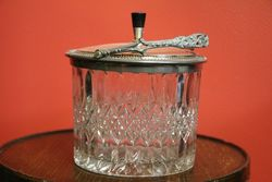 19th Century Glass And Silver Plated Biscuit Barrel C1890