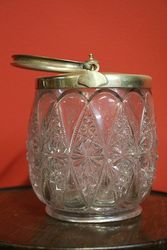 Late Victorian Silver Plated Glass Biscuit Barrel  #