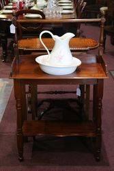 Antique Australian Cedar Washstand With Jug + Basin #