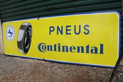 Large Pneus Continental Tyre Enamel Advertising Sign