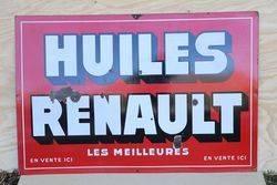 Huiles Renault Enamel Advertising Sign #