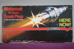 Motorcraft Hi-Them Spark Plugs Cardboard Advertising Sign #
