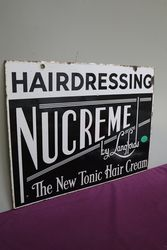 Nucreme Hairdressing By Langfords Double Sided Enamel Sign
